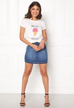 VILA Lovina New T-shirt White Print Brain Bubbleroom.no