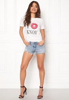 VILA Lovina New T-shirt White Print I o know Bubbleroom.no