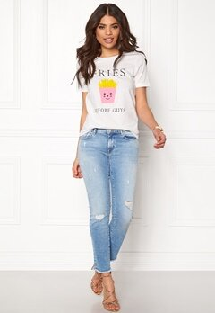 VILA Lovina New T-shirt White Print Pommes Bubbleroom.no