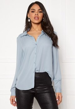VILA Lucy L/S Button Shirt Ashley Blue Bubbleroom.se