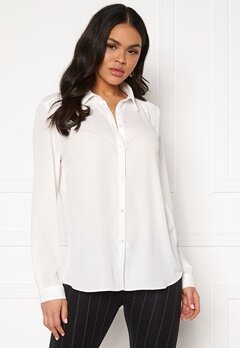 VILA Lucy L/S Button Shirt Snow White Bubbleroom.se