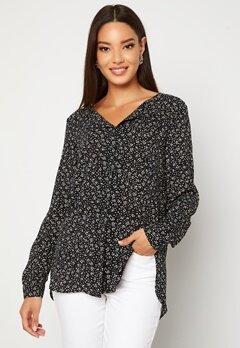 VILA Lucy L/S Print Shirt Black AOP Ally Bubbleroom.se