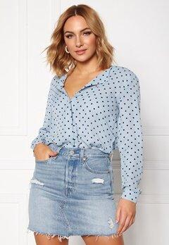 VILA Lucy L/S Shirt Ashley Blue Bubbleroom.se