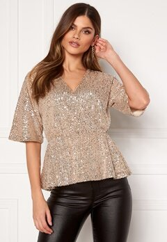 VILA Lyc S/S Top Frosted Almond Bubbleroom.se