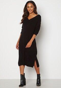 VILA Madelia V-Neck L/S Knit Dress Black Bubbleroom.se