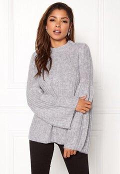 VILA Marina Knit Top Light Grey Melange Bubbleroom.no