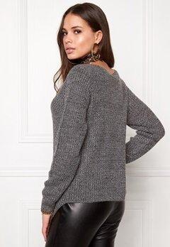 VILA Match Wrap Knit Top Dark Grey Melange Bubbleroom.no