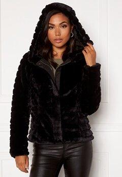 VILA Maya Faux Fur Jacket Black Bubbleroom.se