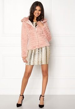 VILA Maya Faux Fur Jacket Peach Whip Bubbleroom.se