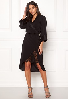 VILA Milena Lace 3/4 Dress Black Bubbleroom.se