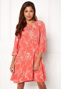 VILA Mimira 3/4 Sleeve Dress Spiced Coral Bubbleroom.se