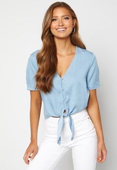 VILA Mira Bista S/S Shirt Light Blue Denim Bubbleroom.se
