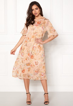 VILA Mouna S/S Medi Dress Peach Blush Bubbleroom.se