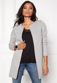 VILA Naja New Long Jacket Light Grey Melange Bubbleroom.eu