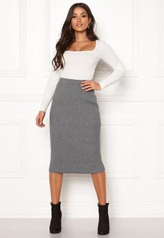 VILA Oliv Knit Pencil Skirt Medium Grey Melange Bubbleroom.se