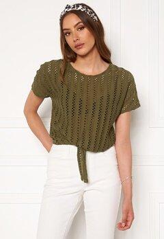 VILA Piline S/S Tie T-shirt Dark Olive Bubbleroom.se