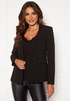 VILA Pinia L/S Blazer Black Stripes Silver Bubbleroom.se