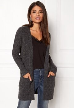 VILA Place Knit Cardigan Dark Grey Melange Bubbleroom.se