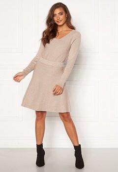 VILA Plisana Knit HW Skirt Natural Melange Bubbleroom.se