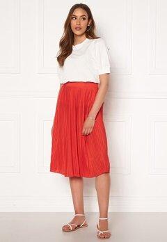 VILA Pliss Midi Skirt Flame Scarlet Bubbleroom.se