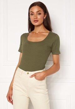 VILA Ribban S/S Top Ivy Green Bubbleroom.se