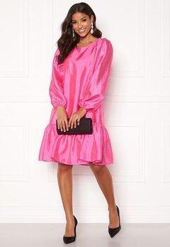VILA Richter L/S Flounce Dress Raspberry Rose Bubbleroom.se