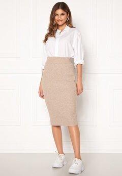 VILA Ril Knit HW Pencil Skirt Simply Taupe Bubbleroom.se