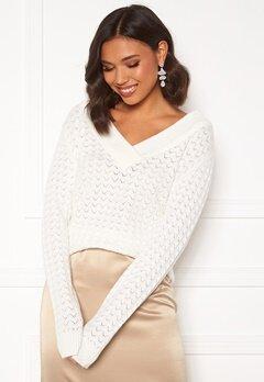VILA Ril Knit L/S V-neck Top Whisper White Bubbleroom.se