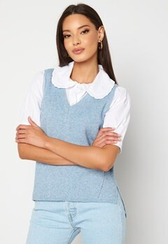 VILA Ril Knit Rib V-Neck Vest Ashley Blue Bubbleroom.se