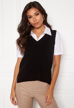 VILA Ril Knit Rib V-Neck Vest Black Bubbleroom.se