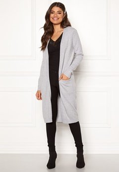 VILA Ril Long Knit Cardigan Light Grey Melange Bubbleroom.se