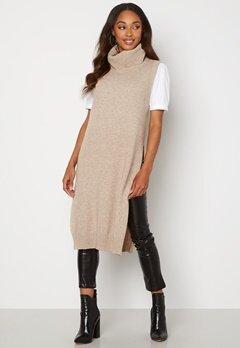 VILA Ril Long S/L Knit Vest Natural Melange bubbleroom.se