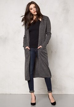 VILA Riva Long Cardigan Dark Grey Melange Bubbleroom.eu