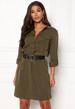 VILA Safarina L/S Dress Dark Olive Bubbleroom.se