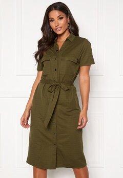 VILA Safina S/S Short Dress Noos Dark Olive Bubbleroom.se