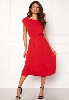 VILA Samja s/l Dress Flame Scarlet Bubbleroom.no
