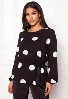 VILA Sarina L/S Dot Top Black W White Dots Bubbleroom.se