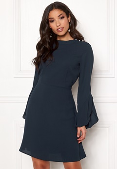 VILA Sarina L/S Pearl Dress Navy Blazer Bubbleroom.se