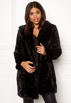 VILA Softa Faux Fur Coat Black Bubbleroom.se