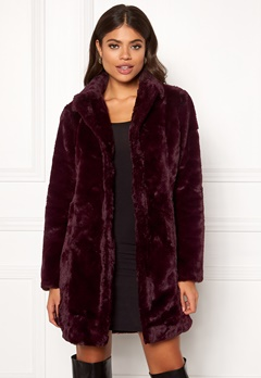VILA Softa Faux Fur Coat Winetasting Bubbleroom.se