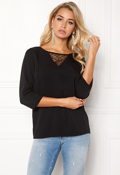 VILA Sommi 3/4 Sleeve Lace Top Black Bubbleroom.fi