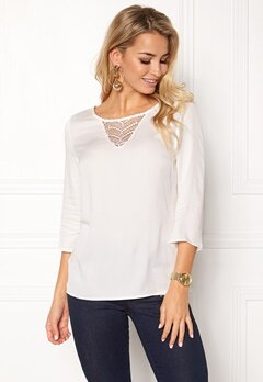 VILA Sommi 3/4 Sleeve Lace Top Snow White Bubbleroom.fi