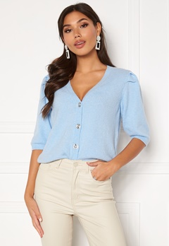 VILA Sparkle S/S Knit Cardigan Cashmere Blue Bubbleroom.se