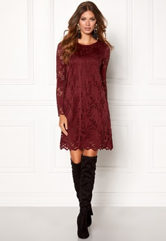 VILA Stasia Lace A-Shape Dress Cabernet Bubbleroom.fi