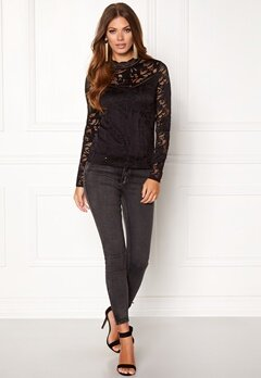 VILA Stasia  L/S Lace Top Black Bubbleroom.fi