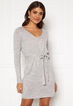 VILA Suril L/S V-Neck Short Knit Dress Light Grey Melange Bubbleroom.se