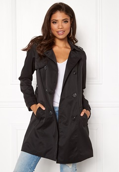 VILA Three Long Trenchcoat Black Bubbleroom.se