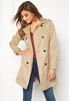 VILA Three Long Trenchcoat Soft Camel Bubbleroom.se