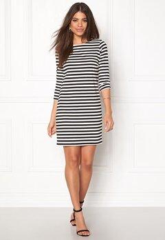 VILA Tinny New Dress White/Black Stripe Bubbleroom.no