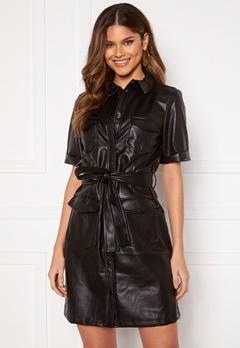 VILA Tria Coated S/S Dress Black Bubbleroom.se